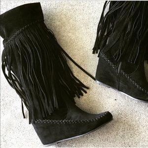 New! Black Fringe Moccasin Knee High Wedge Boot